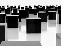 Black cube. High resolution image  black cube. 3d illustration over  white backgrounds Stock Photo
