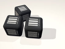 Black Cube with Barcode Royalty Free Stock Photography