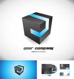 Black cube blue stripe 3d logo icon design Stock Photos