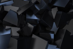 Black Cube Box scattering on floor 3d rendering Royalty Free Stock Images