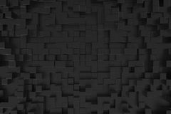 Black Cubes Background. 3d render of abstract black cube extrusions Stock Images