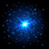 Black cubes and blue explosion on black background Stock Images