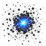 Black cubes and blue explosion isolated on white Stock Image