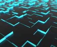 Black Cubes with Cyan Light Core. 3D Rendering Abstract Floor Background with DOF Effect Royalty Free Stock Photography