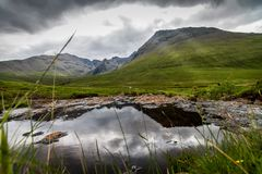 Black Cuillin Mountains. Resides at the Isle of Skye by the famous fairy pools royalty free stock photography