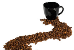 Black cup and coffee beans Stock Photo