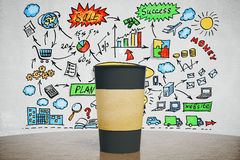 Black cup of coffee with business idea concept Stock Image