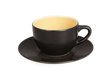 Black cup isolated on white. Background with clipping path Stock Photo