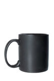 Black cup or mug for coffee, tea or any hot beverage. Object isolated on white background without shadows Royalty Free Stock Photography