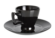 Black cup and saucer Stock Photography