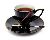 Black cup of tea Royalty Free Stock Photo