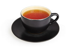 Black cup of tea isolated on white. Background with clipping path Stock Image