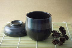 Black cup of tea Royalty Free Stock Photos