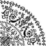 Black curled quadrant design. Illustration with black curled quadrant ornament Royalty Free Stock Photos