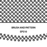 Black curls brush and pattern template for illustrator. Abstract set for decoration of card, banner, cover and packages. Royalty Free Stock Photos