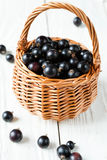 Black currant in a basket Royalty Free Stock Images