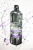 Black bottle balsam illustration stock photo
