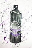 Black bottle balsam illustration stock photo