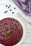 Black currant cheesecake Stock Photo