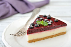 Black currant cheesecake Stock Images