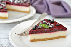 Black currant cheesecake Royalty Free Stock Images