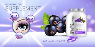 Black currant dietary supplement ads. Vector Illustration with eye supplement contained in bottle and blackcurrant elements. Royalty Free Stock Photo