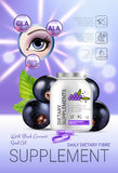 Black currant dietary supplement ads. Vector Illustration with eye supplement contained in bottle and blackcurrant elements. Vertical poster Royalty Free Stock Photography