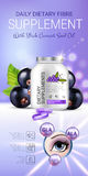 Black currant dietary supplement ads. Vector Illustration with eye supplement contained in bottle and blackcurrant elements. Stock Photo