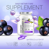 Black currant dietary supplement ads. Vector Illustration with eye supplement contained in bottle and blackcurrant elements. Poster Stock Image