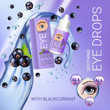Black currant eye drops ads. Vector Illustration with collyrium in bottle and blackcurrant elements. Stock Photo