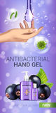 Black currant flavor antibacterial hand gel ads. Vector Illustration with antiseptic hand gel in bottles and blackcurrant elements. Vertical banner Royalty Free Stock Photos