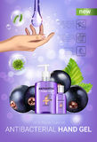 Black currant flavor antibacterial hand gel ads. Vector Illustration with antiseptic hand gel in bottles and blackcurrant elements. Vertical poster Stock Image