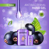 Black currant flavor antibacterial hand gel ads. Vector Illustration with antiseptic hand gel in bottles and blackcurrant elements. Poster Royalty Free Stock Images