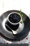 Black Currant Jam. Bowl of black-currant jam royalty free stock photos