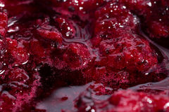 Black currant jam with bubbles close up. Black currant jam jelly with bubbles close up Royalty Free Stock Photos