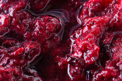 Black currant jam with bubbles close up. Black currant marmalade jam with bubbles close up Royalty Free Stock Image
