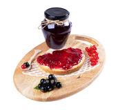 Black currant jam on a slice and Stock Photography
