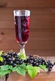 Black currant liquor and ripe berries Royalty Free Stock Photos