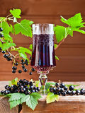 Black currant liquor and ripe berries Royalty Free Stock Images