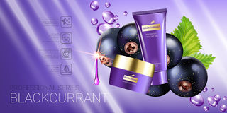 Black currant skin care series ads. Vector Illustration with blackcurrant, smoothing cream tube and container Royalty Free Stock Photo