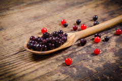 Black currant in wooden spoon on rustic background Royalty Free Stock Photography