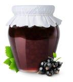 Black currants jam. Isolated fruit jam. Glass closed jar with black currants jam and fresh berries isolated on white background Stock Photography