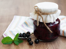Black currants jam Stock Photo