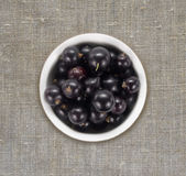 Black currants in a white ceramic bowl. Top view. Ripe and tasty currants on a linen tablecloth Stock Images