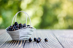 Black currants on a wooden table. Black currants in summer outdoors on a wooden table stock photo