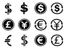 Black currency symbols icons set. Isolated black currency symbols icons set from white background Stock Photography
