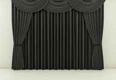 Black curtain or drapes background. 3d render. Black curtain or drapes background scene. 3d rendering Royalty Free Stock Photo