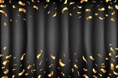 Black curtain gold confetti Falling Stars Abstract Background. Light Curtain. Vector illustration. art. Black curtain gold confetti Falling Stars Abstract stock illustration
