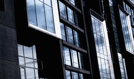 Black Curtain Wall Building in Close Up Shot Royalty Free Stock Images