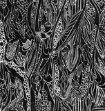 Black curved doodles. Black doodles of various shapes forming an abstract background. Drawn with ink Stock Images